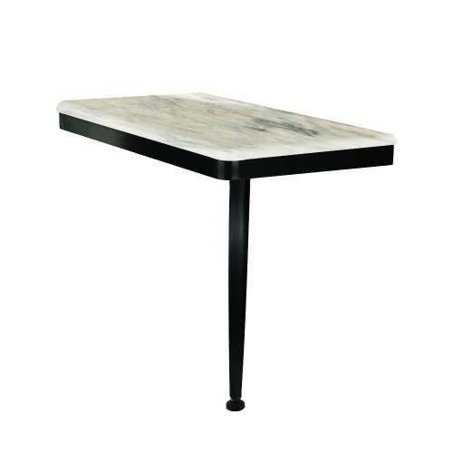 24in x 12in Right-Hand Shower Seat with PVD Coated Matte Black Frame and Leg, in Sand Creme