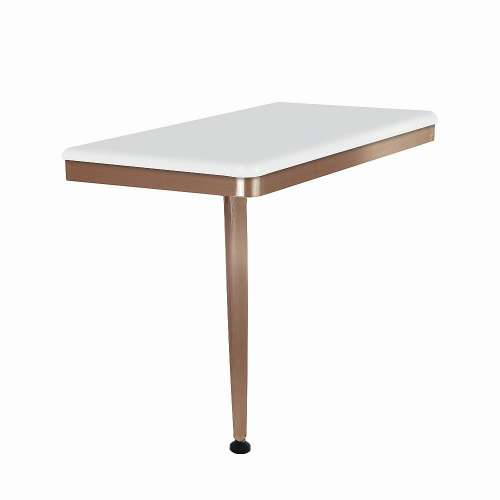 24in x 12in Left-Hand Shower Seat with PVD Coated Champagne Bronze Frame and Leg, in White