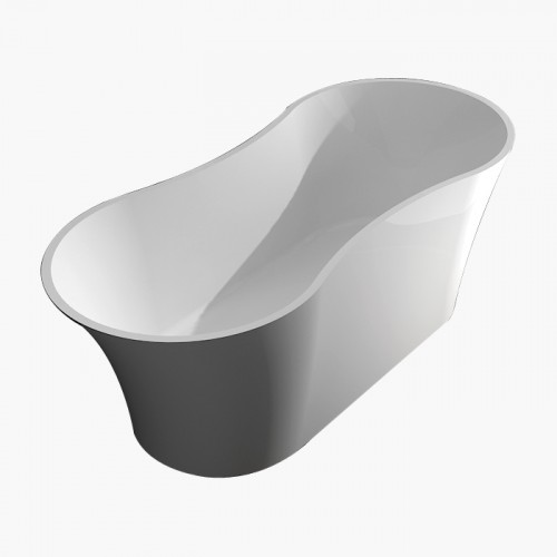 Transolid Melody 64-in x 28-in Resin Stone Freestanding Bathtub with center drain, in White