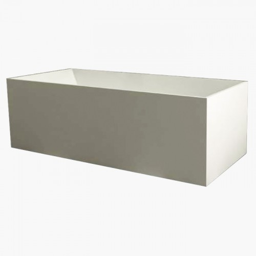 Transolid Portia 66-in x 28-in Resin Stone Freestanding Bathtub with end drain, in White