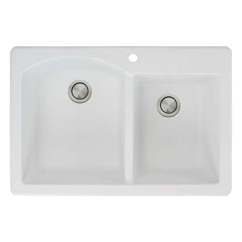 Transolid Aversa 33in x 22in silQ Granite Drop-in Double Bowl Kitchen Sink with 1 Pre-Drilled Center Faucet Hole, in White