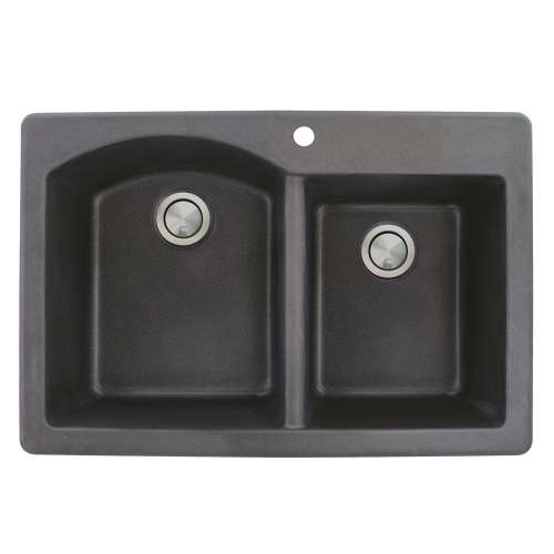 Transolid Aversa 33in x 22in silQ Granite Drop-in Double Bowl Kitchen Sink with 1 B Faucet Hole, In Black