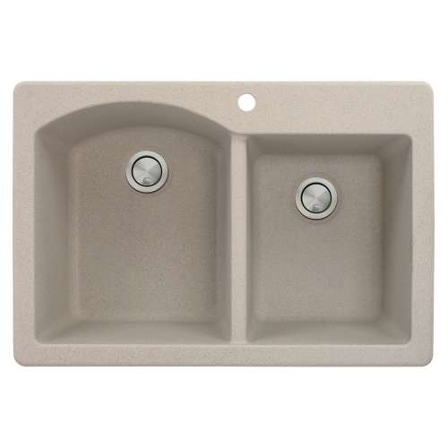 Transolid Aversa 33in x 22in silQ Granite Drop-in Double Bowl Kitchen Sink with 1 B Faucet Hole, In Cafe Latte