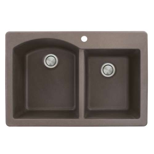 Transolid Aversa 33in x 22in silQ Granite Drop-in Double Bowl Kitchen Sink with 1 B Faucet Hole, In Espresso