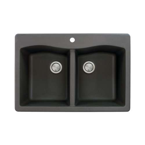 Transolid Aversa 33in x 22in silQ Granite Drop-in Double Bowl Kitchen Sink with 1 Pre-Drilled Center Faucet Hole, in Black