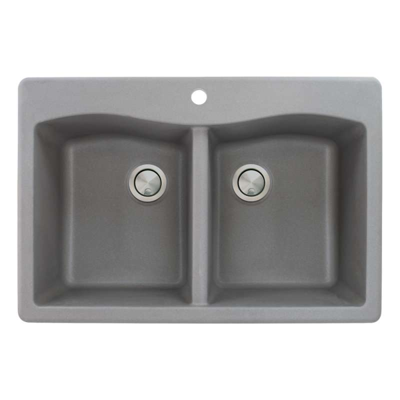 Transolid Aversa Granite 33 In Drop In Kitchen Sink Kit With Grids Strainers And Drain Installation Kit In Grey K Atde3322 17