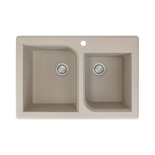Transolid Radius 33in x 22in silQ Granite Drop-in Double Bowl Kitchen Sink with 1 Pre-Drilled Faucet Hole, in Café Latte