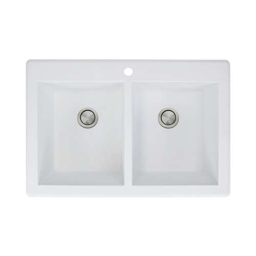 Transolid Radius 33in x 22in silQ Granite Drop-in Double Bowl Kitchen Sink with 1 Pre-Drilled Faucet Hole, in White