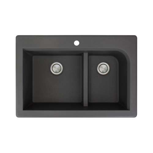 Transolid Radius 33in x 22in silQ Granite Drop-in Double Bowl Kitchen Sink with 1 Pre-Drilled Faucet Hole, in Black