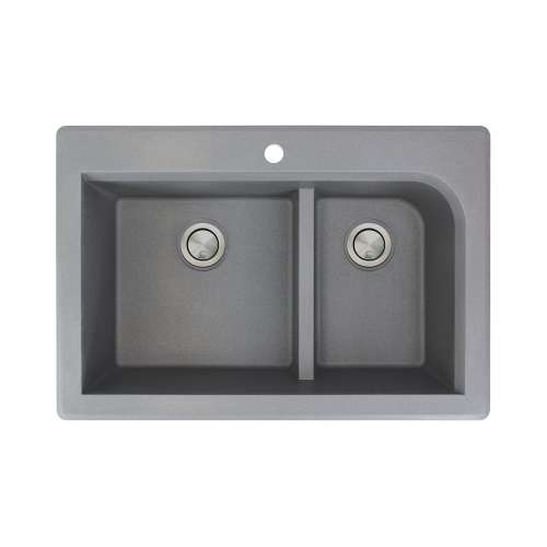 Transolid Radius 33in x 22in silQ Granite Drop-in Double Bowl Kitchen Sink with 1 Pre-Drilled Faucet Hole, in Grey