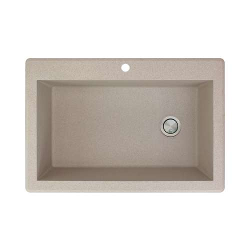 Transolid Radius 33in x 22in silQ Granite Drop-in Single Bowl Kitchen Sink with 1 Pre-Drilled Faucet Hole, in Café Latte