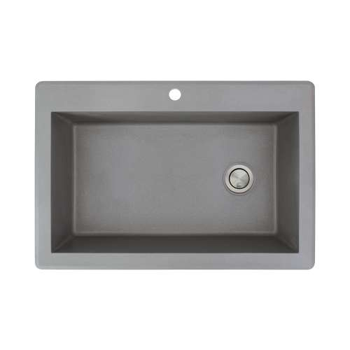Transolid Radius 33in x 22in silQ Granite Drop-in Single Bowl Kitchen Sink with 1 Pre-Drilled Faucet Hole, in Grey
