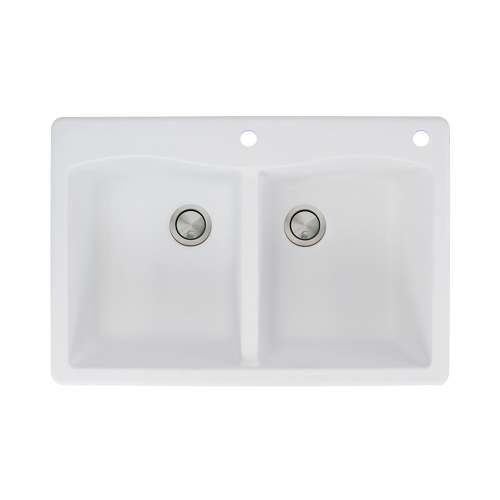 Transolid Aversa 33in x 22in silQ Granite Drop-in Double Bowl Kitchen Sink with 2 CE Faucet Holes, In White