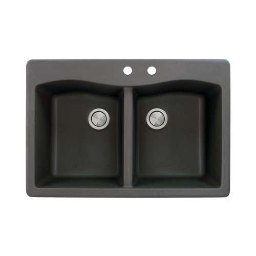 Transolid Aversa 33in x 22in silQ Granite Drop-in Double Bowl Kitchen Sink with 2 CD Faucet Holes, in Black