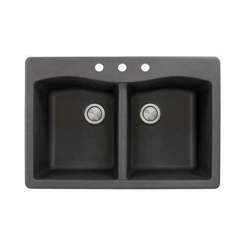 Transolid Aversa 33in x 22in silQ Granite Drop-in Double Bowl Kitchen Sink with 3 CBD Faucet Holes, in Black