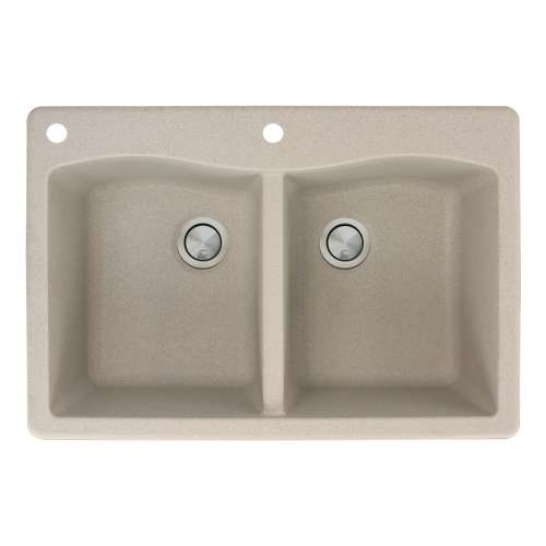 Transolid Aversa 33in x 22in silQ Granite Drop-in Double Bowl Kitchen Sink with 2 CA Faucet Holes, in Café Latte