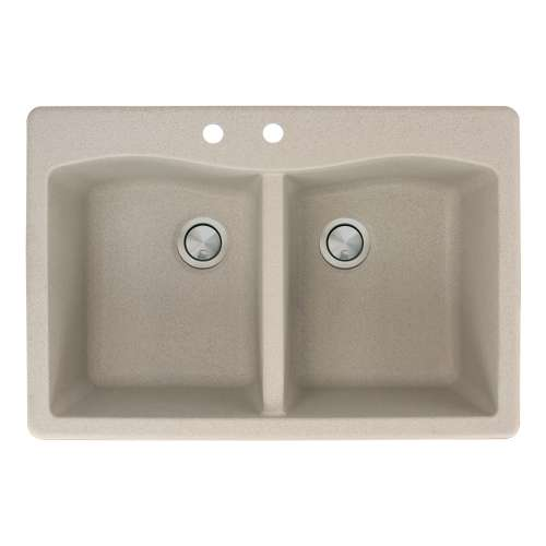 Transolid Aversa 33in x 22in silQ Granite Drop-in Double Bowl Kitchen Sink with 2 CB Faucet Holes, in Café Latte