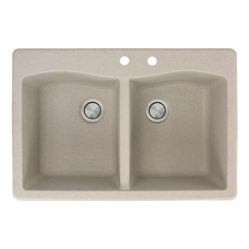 Transolid Aversa 33in x 22in silQ Granite Drop-in Double Bowl Kitchen Sink with 2 CD Faucet Holes, in Café Latte