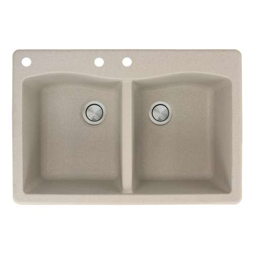 Transolid Aversa 33in x 22in silQ Granite Drop-in Double Bowl Kitchen Sink with 3 CAB Faucet Holes, in Café Latte
