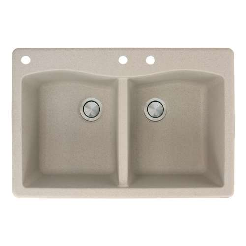 Transolid Aversa 33in x 22in silQ Granite Drop-in Double Bowl Kitchen Sink with 3 CAD Faucet Holes, in Café Latte