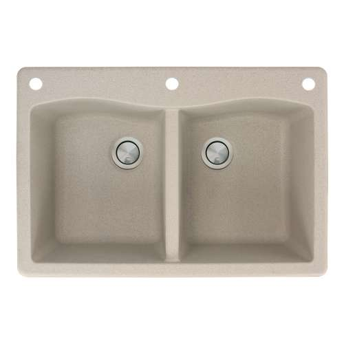 Transolid Aversa 33in x 22in silQ Granite Drop-in Double Bowl Kitchen Sink with 3 CAE Faucet Holes, in Café Latte
