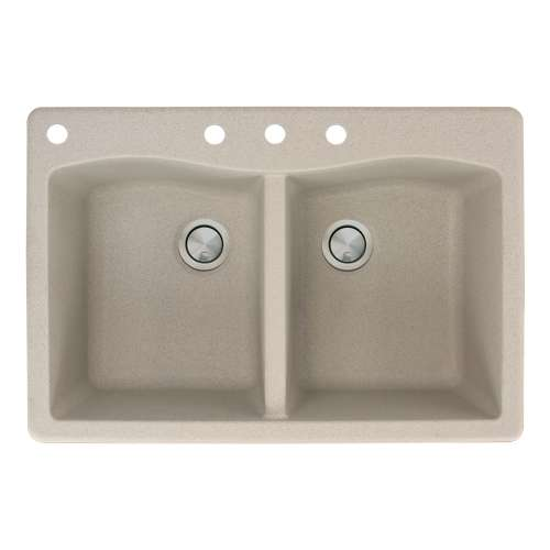 Transolid Aversa 33in x 22in silQ Granite Drop-in Double Bowl Kitchen Sink with 4 CABD Faucet Holes, in Café Latte