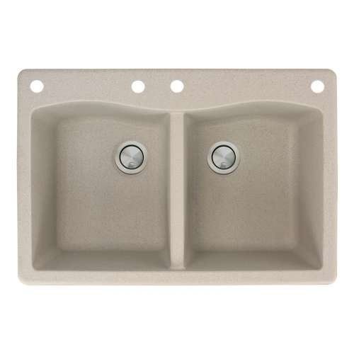 Transolid Aversa 33in x 22in silQ Granite Drop-in Double Bowl Kitchen Sink with 4 CABE Faucet Holes, in Café Latte
