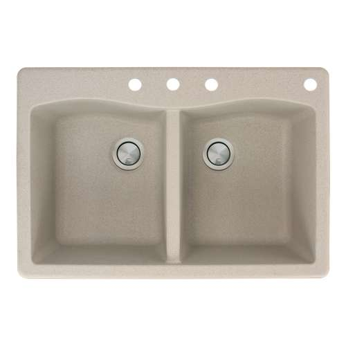 Transolid Aversa 33in x 22in silQ Granite Drop-in Double Bowl Kitchen Sink with 4 CBDE Faucet Holes, in Café Latte