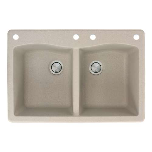 Transolid Aversa 33in x 22in silQ Granite Drop-in Double Bowl Kitchen Sink with 4 CADE Faucet Holes, in Café Latte