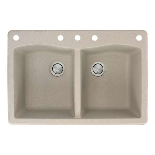 Transolid Aversa 33in x 22in silQ Granite Drop-in Double Bowl Kitchen Sink with 5 CABDE Faucet Holes, in Café Latte