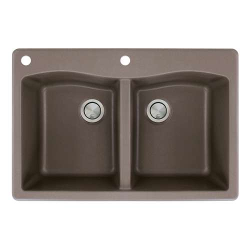 Transolid Aversa 33in x 22in silQ Granite Drop-in Double Bowl Kitchen Sink with 2 CA Faucet Holes, in Espresso