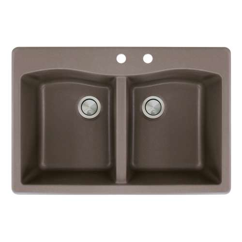 Transolid Aversa 33in x 22in silQ Granite Drop-in Double Bowl Kitchen Sink with 2 CD Faucet Holes, in Espresso