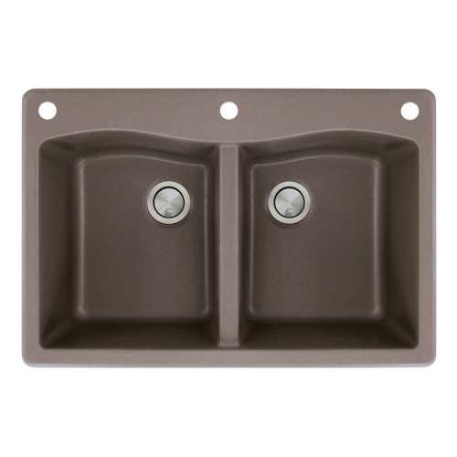 Transolid Aversa 33in x 22in silQ Granite Drop-in Double Bowl Kitchen Sink with 3 CAE Faucet Holes, in Espresso