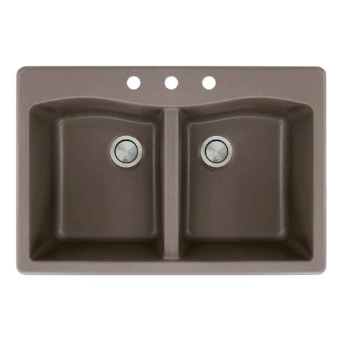 Transolid Aversa 33in x 22in silQ Granite Drop-in Double Bowl Kitchen Sink with 3 CBD Faucet Holes, in Espresso