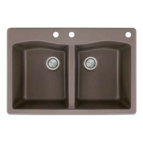 Transolid Aversa 33in x 22in silQ Granite Drop-in Double Bowl Kitchen Sink with 3 CBE Faucet Holes, in Espresso