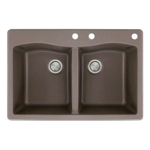 Transolid Aversa 33in x 22in silQ Granite Drop-in Double Bowl Kitchen Sink with 3 CDE Faucet Holes, in Espresso
