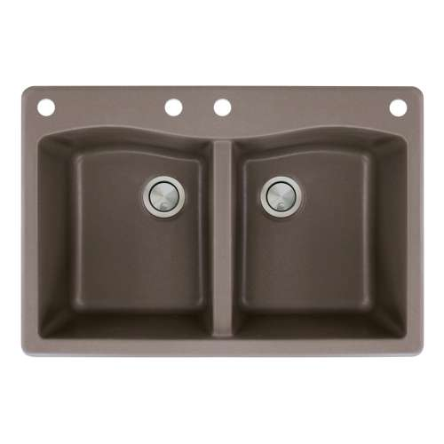 Transolid Aversa 33in x 22in silQ Granite Drop-in Double Bowl Kitchen Sink with 4 CABE Faucet Holes, in Espresso