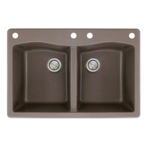 Transolid Aversa 33in x 22in silQ Granite Drop-in Double Bowl Kitchen Sink with 4 CADE Faucet Holes, in Espresso