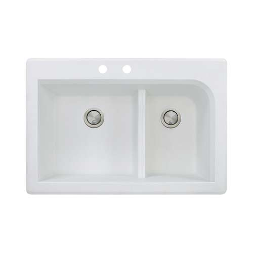 Transolid Radius 33in x 22in silQ Granite Drop-in Double Bowl Kitchen Sink with 2 CB Faucet Holes, In White