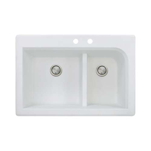 Transolid Radius 33in x 22in silQ Granite Drop-in Double Bowl Kitchen Sink with 2 CD Faucet Holes, In White
