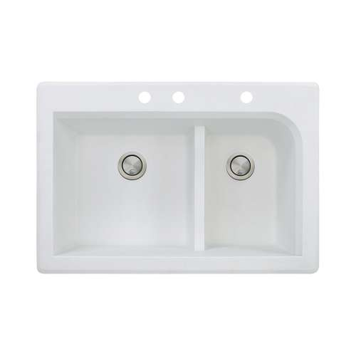 Transolid Radius 33in x 22in silQ Granite Drop-in Double Bowl Kitchen Sink with 3 CBE Faucet Holes, In White