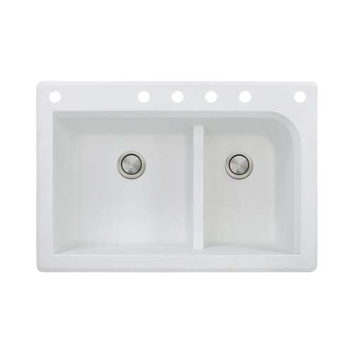 Transolid Radius 33in x 22in silQ Granite Drop-in Double Bowl Kitchen Sink with 6 CABDEF Faucet Holes, In White