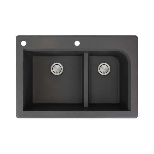 Transolid Radius 33in x 22in silQ Granite Drop-in Double Bowl Kitchen Sink with 2 CA Faucet Holes, In Black