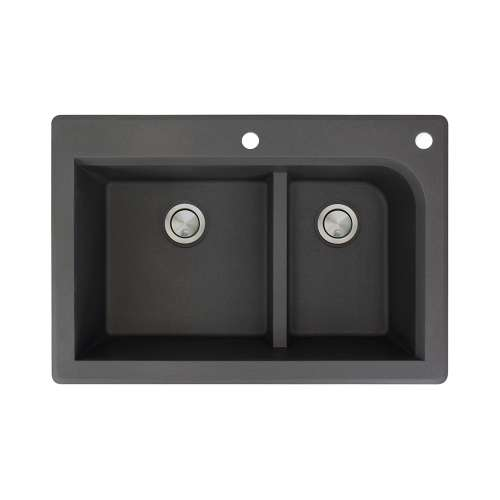 Transolid Radius 33in x 22in silQ Granite Drop-in Double Bowl Kitchen Sink with 2 CF Faucet Holes, In Black