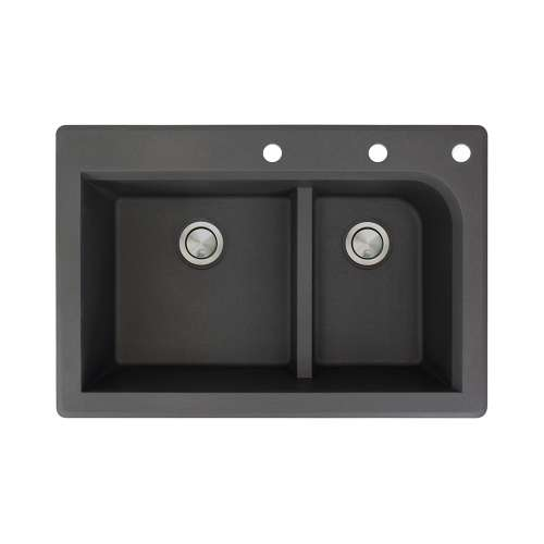 Transolid Radius 33in x 22in silQ Granite Drop-in Double Bowl Kitchen Sink with 3 CEF Faucet Holes, In Black