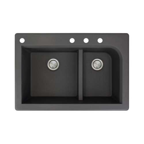 Transolid Radius 33in x 22in silQ Granite Drop-in Double Bowl Kitchen Sink with 4 CADE Faucet Holes, In Black