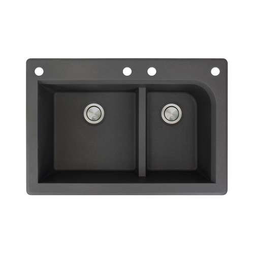 Transolid Radius 33in x 22in silQ Granite Drop-in Double Bowl Kitchen Sink with 4 CADF Faucet Holes, In Black