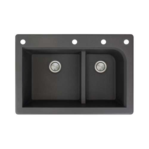 Transolid Radius 33in x 22in silQ Granite Drop-in Double Bowl Kitchen Sink with 4 CAEF Faucet Holes, In Black