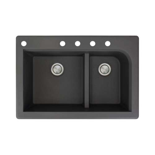 Transolid Radius 33in x 22in silQ Granite Drop-in Double Bowl Kitchen Sink with 5 CABDE Faucet Holes, In Black