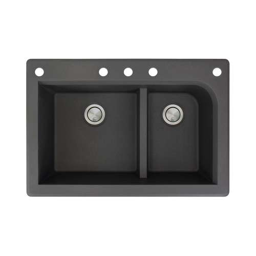 Transolid Radius 33in x 22in silQ Granite Drop-in Double Bowl Kitchen Sink with 5 CABDF Faucet Holes, In Black